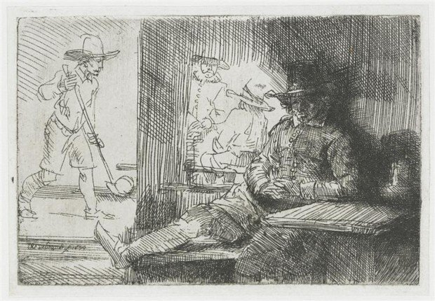 Rembrandt, The golf player, 1654, private collection, golf painting