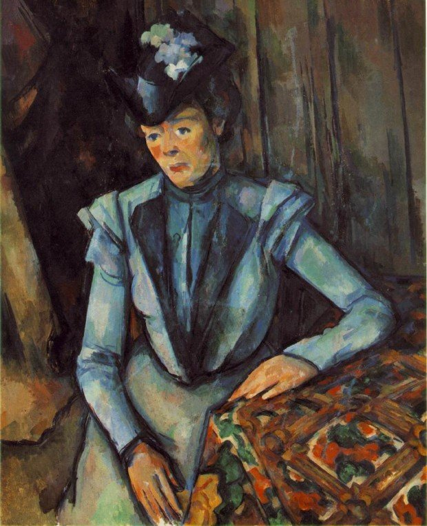 Woman Seated in Blue, Paul Cézanne, 1902-1906, Pushkin State Museum of Fine Arts, Moscow, Paul Cézanne's Postimpressionist Portraits