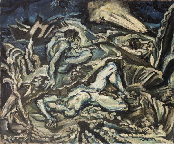 Ludwig Meidner, Apocalptic Vision (1912) New Walk Art Gallery, Leicester , influence of El Greco on expressionism