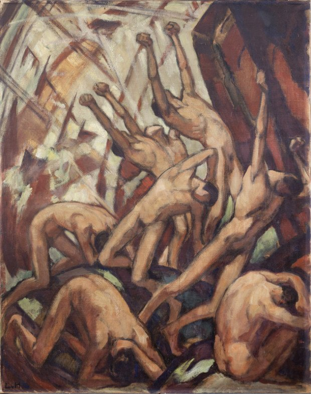 Ludwig Hofmann, Zusammenbruch, (1918) New Walk Gallery, Leicester , influence of El Greco on expressionism
