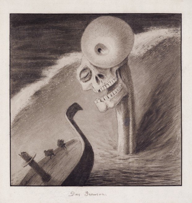 creepy paintings Alfred Kubin, The Horror, c. 1902, Leopold Museum