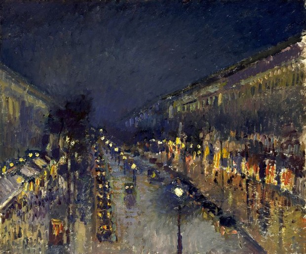 The Boulevard Montmartre at Night, Camille Pissaro, 1897, National Gallery, London, Montmartre - the Home to Many Inspirations