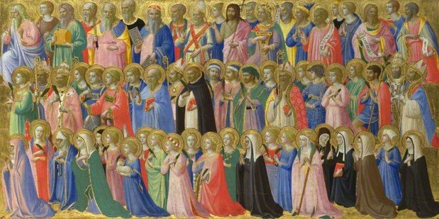 The Forerunners of Christ with Saints and Martyrs, Fra Angelico, 1423-1424, The National Gallery, London, All Saints Day in paintings