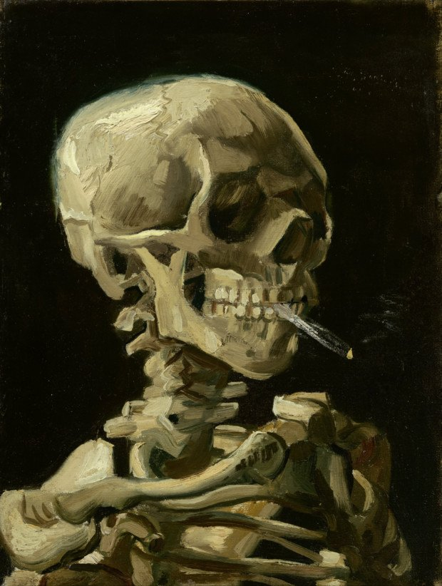 "creepy paintings Vincent van Gogh, ""Head of a skeleton with a burning cigarette,"" 1886, Van Gogh Museum"