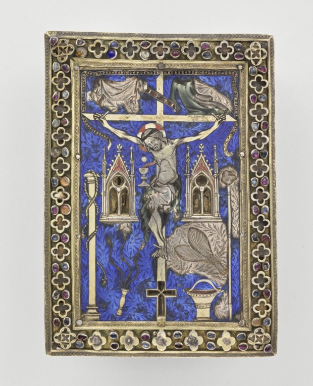 musee cluny glass Painting-reliquary with a Crucifixion, 14th Century, Musee du Cluny