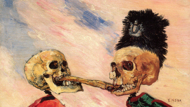 James Ensor, Skeletons Fighting over a Pickled Herring