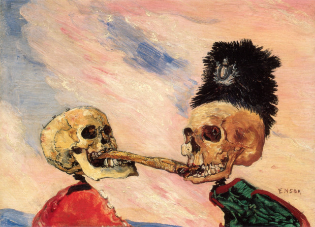 creepy paintings James Ensor, Skeletons Fighting over a Pickled Herring, 1891, Musées royaux des Beaux-Arts