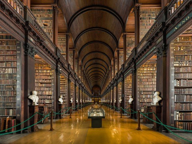 The Long Room, Trinity College Library, Dublin. Source: Wikimedia, most beautiful libraries