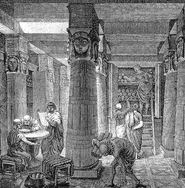 O. Von Corven, The Great Library of Alexandria, 19th century, Source:Tolzmann, Don Heinrich, Alfred Hessel and Reuben Peiss. The Memory of Mankind. New Castle, DE: Oak Knoll Press, 2001, most beautiful libraries