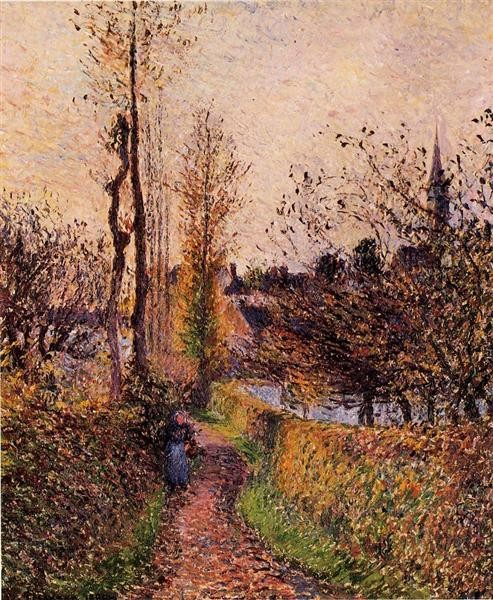 Camille Pissarro, The path of Basincourt, 1884, private collection, paths from art