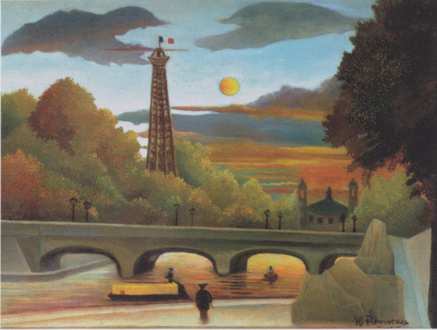 autumn paintings by famous artists Henri Rousseau, Eiffel Tower at Sunset, 1910 , private collection autumn paintings created by famous artists