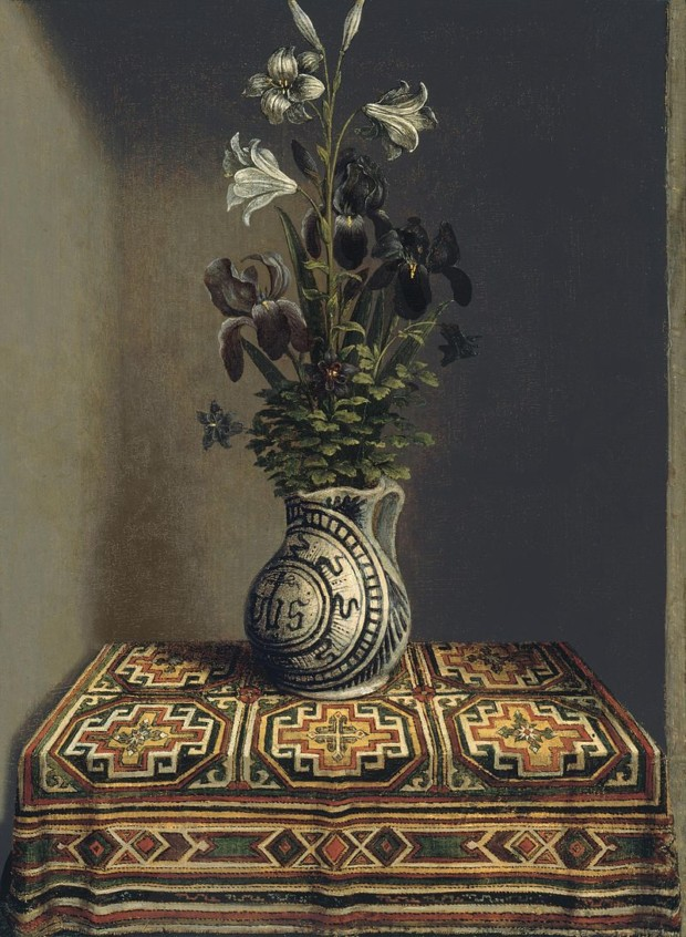 Hans Memling's Still Life with a Jug with Flowers (The reverse side of the Portrait of a Praying Man), c. 1480, Thyssen-Bornemisza Museum, Madrid, Spain, ottoman carpets in Renaissance Paintings