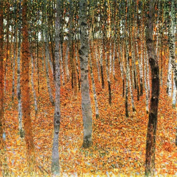 autumn paintings by famous artists Gustav Klimt, Birch Forest I, 1902, private collection