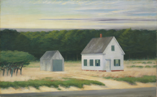 autumn paintings by famous artists Edward Hopper's, October on Cape Cod, 1946,autumn paintings created by famous artists