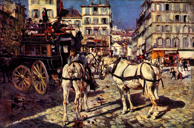 Bus on the Pigaille Place in Paris by Giovanni Boldini Parisian landmarks