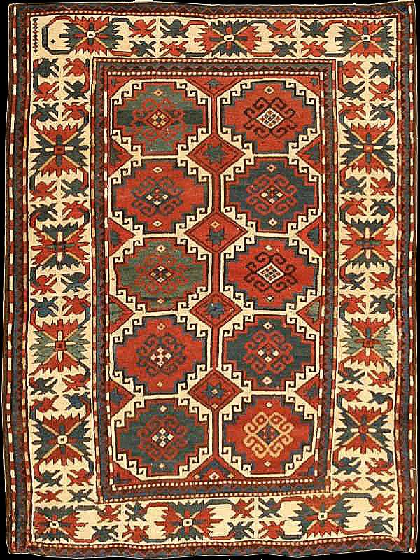 "Antique Karabagh rug with ""Moghan / Memling Gül"" design, late 19th century, Elisabethpol Governorate, Javanshir Uyezd, Azerbaijan, ottoman carpets in Renaissance Paintings"