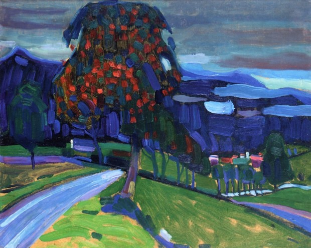 autumn paintings by famous artists Wassily Kandinsky, Autumn in Murnau, 1908, private collection
