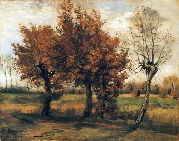 autumn paintings by famous artists Vincent van Gogh, Autumn Landscape with Four Trees, 1885, Kröller-Müller Museum, Otterlo