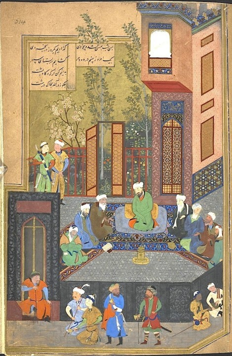 Bihzad, Alexander the Great and the seven sages, Khamsa of Nizami dated 900/1494-85, British Library, London, Or. 6810, fol. 214b, behzad persian painter