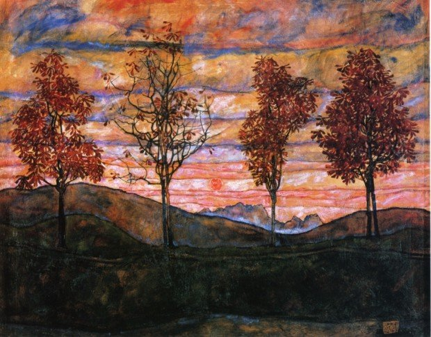 autumn paintings by famous artists Egon Schiele, Four Trees, 1917, Belvedere, Vienna autumn paintings created by famous artists