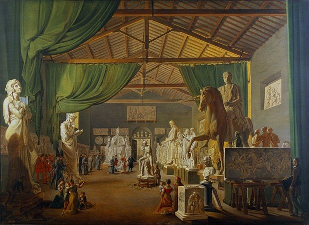 Ditlev Martens, Pope Leo XII visits Thorvaldsen's studio near the Piazza Barberini on St. Luke's Day October 18th 1826, 1830, Thorvaldsen Museum, Sculptors' Studios
