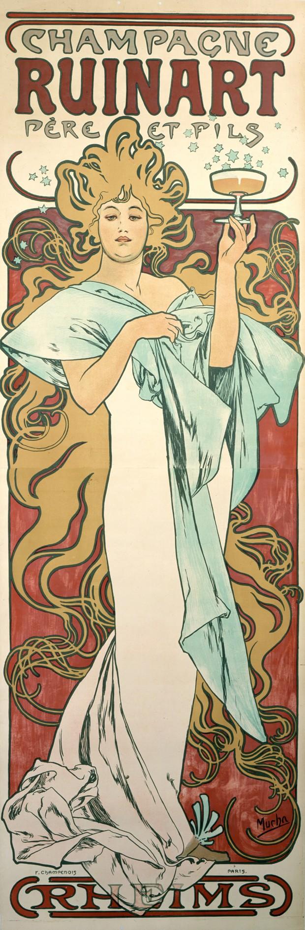 Posters 19th century Alphonse Mucha, Ruinart champagne, 1896