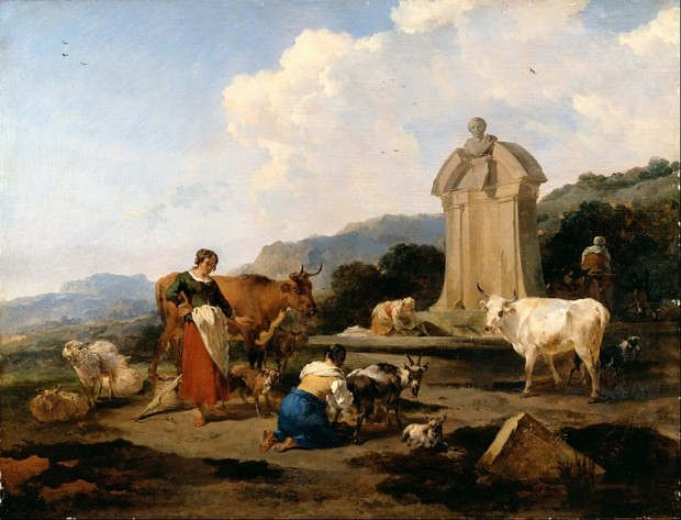 Berchem, Nicolaes, Roman Fountain with Cattle and Figures (Le Midi), c.1645-46, Dulwich Picture Gallery, Dutch Painters Love Cows