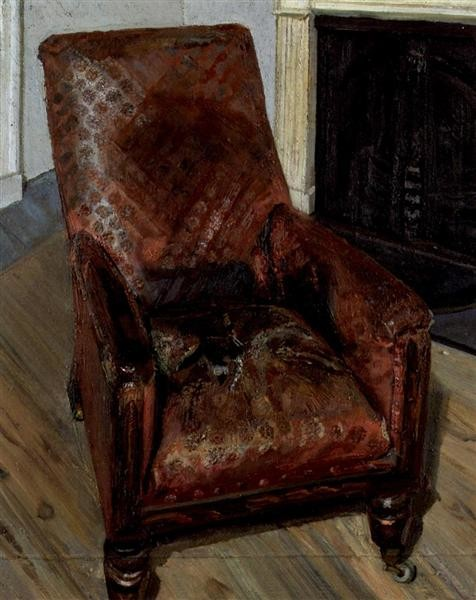 Lucian Freud, Armchair by the Fireplace, 1997, Private Collection, hygge in art
