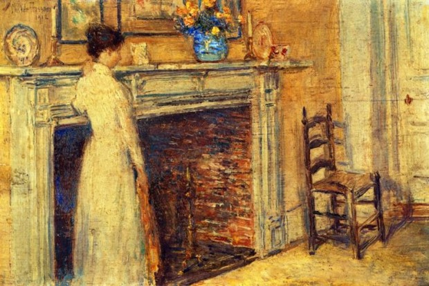 Childe Hassam, The Fireplace,1912, Private Collection, hygge in art