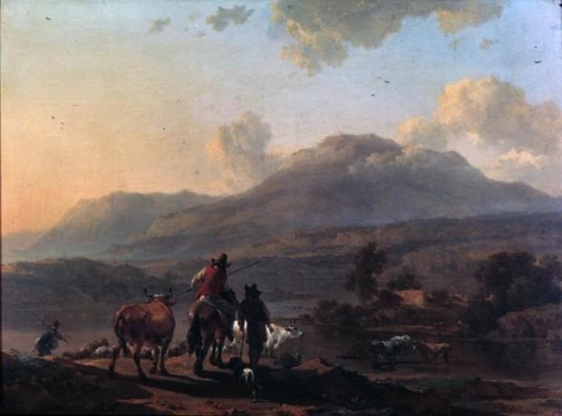 Nicholaes Berchem, Landscape with Italian Peasants (or Italian Landscape at Sunset), mid-17th-century, Alte Pinakothek, Munich, Dutch Painters Love Cows
