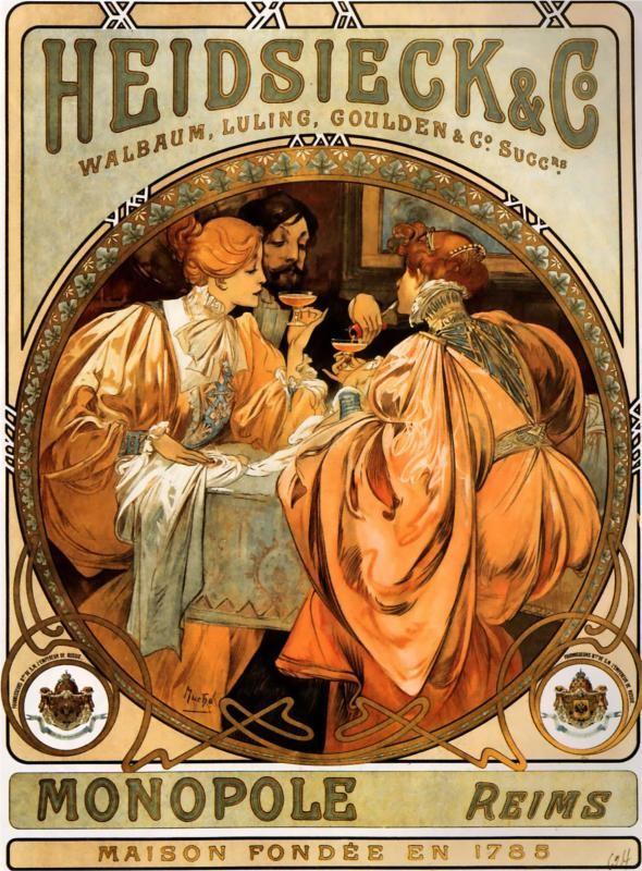 Posters 19th century Alphonse Mucha, Heidsieck Champagne