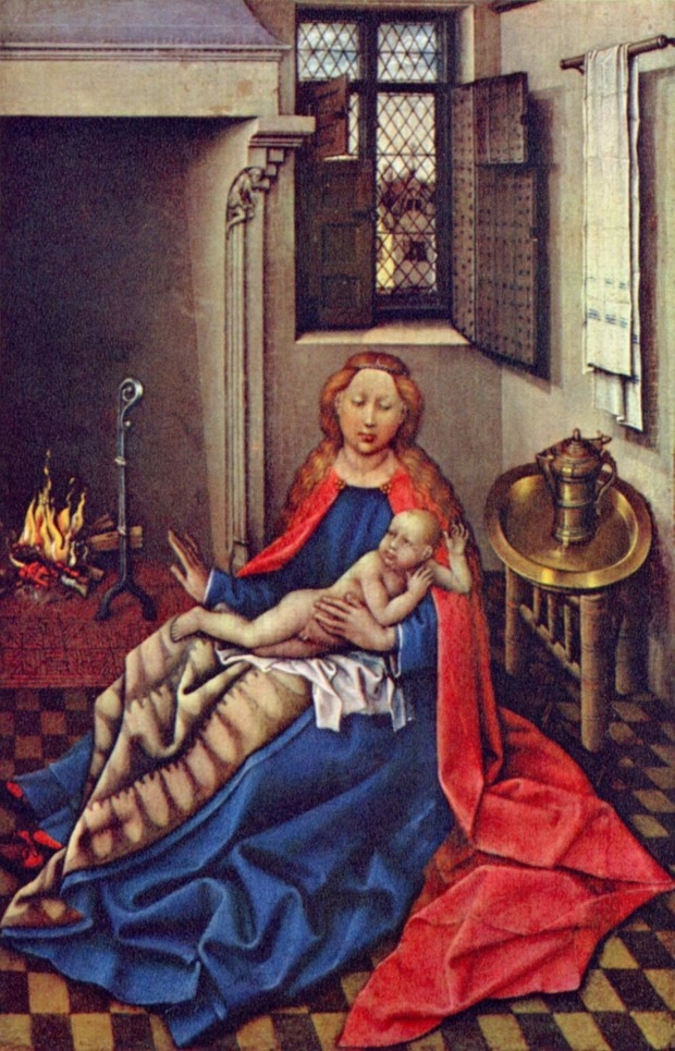 Robert Campin, Madonna and Child Before a Fireplace, 1430 Hermitage Museum, Saint Petersburg, hygge in art