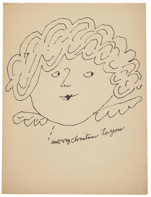 """Andy Warhol, Christmas Fairy """"Merry Christmas to You,"""" ink on paper, drawn circa 1954. © The Andy Warhol Foundation for the Visual Arts, Inc., warhol christmas"""