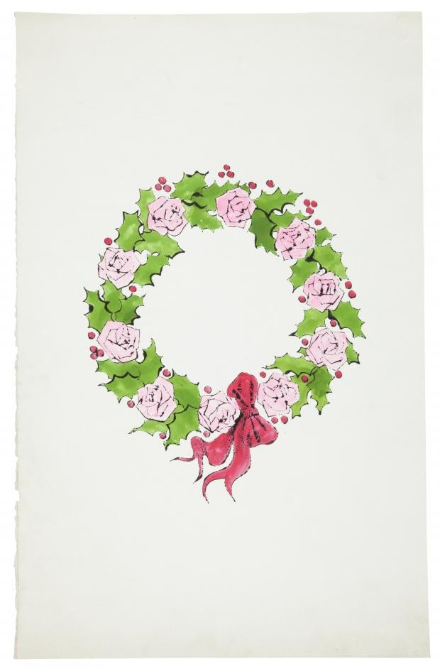 Andy Warhol, Wreath, ink and watercolor on paper, Drawn circa 1956 © The Andy Warhol Foundation for the Visual Arts, Inc., warhol christmas