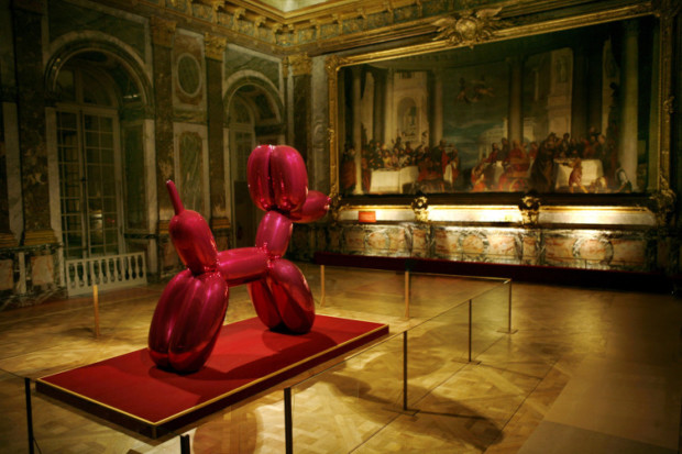 Jeff Koons Balloon Dog Dog This shocking pink Balloon Dog photographed on September 9, 2008, at the Château de Versailles sparked controversy as some visitors said the work was crude and too modern for Louis XIV's former palace.