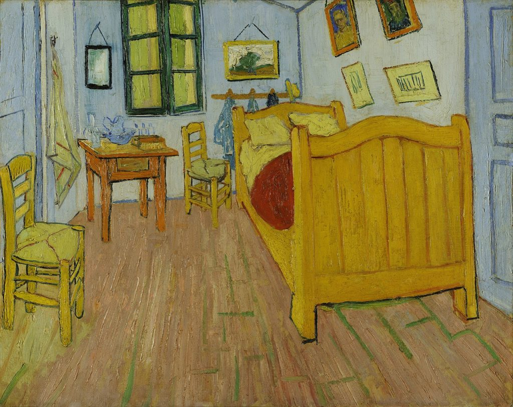 Vincent van Gogh's Bedroom First version, October 1888. Oil on canvas, 72 x 90 cm, Van Gogh Museum, Amsterdam