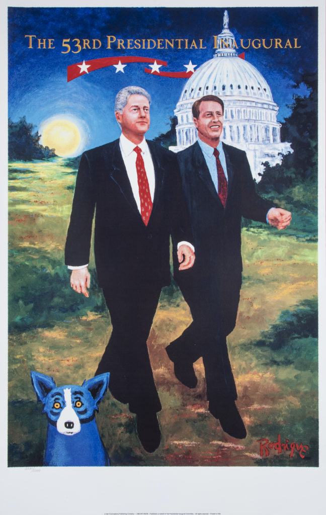 George Rodrigue 1997 Bill Clinton/ Al Gore Presidential Inaugural blue dog by george rodrigue