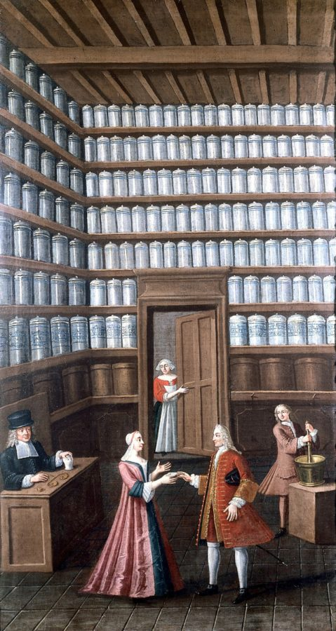 A Pharmacy, c. 1700, French, Wellcome Library, London, History of medicine in art