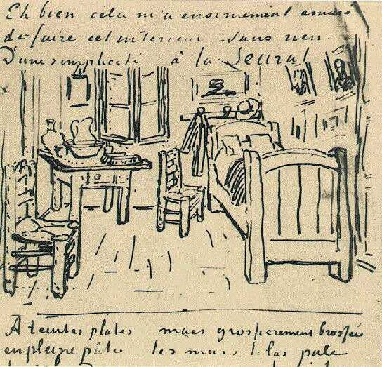 Vincent van Gogh's Bedroom Sketch from a letter to Gauguin