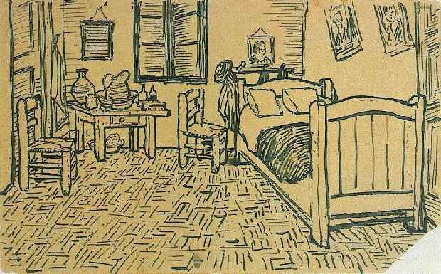 Vincent van Gogh's Bedroom Sketch from a letter to Theo