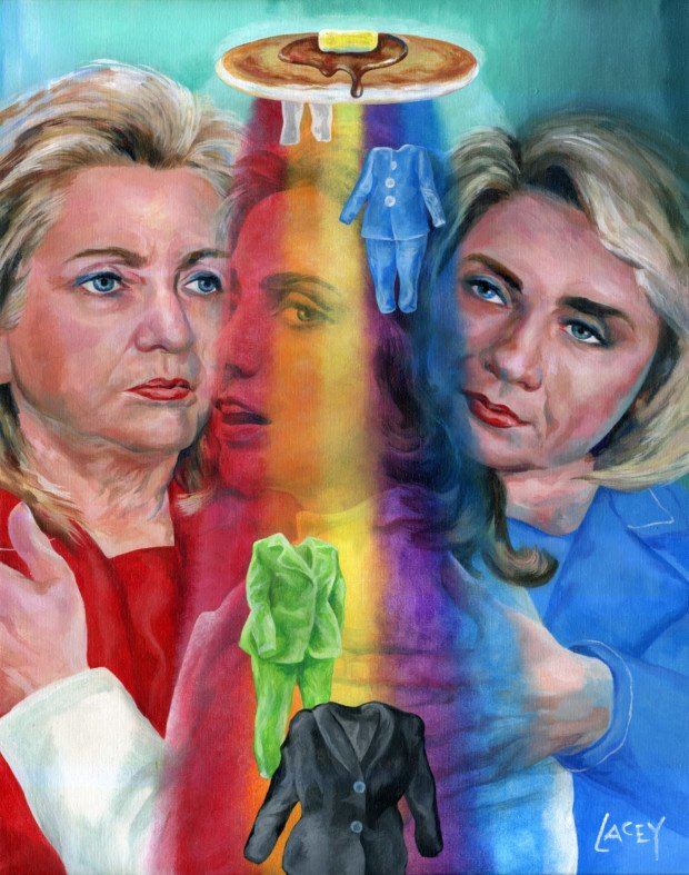 Dan Lacey, Triple Hillary Pancake Rainbow Pantsuit Painting, 2015,celebrities and pancakes