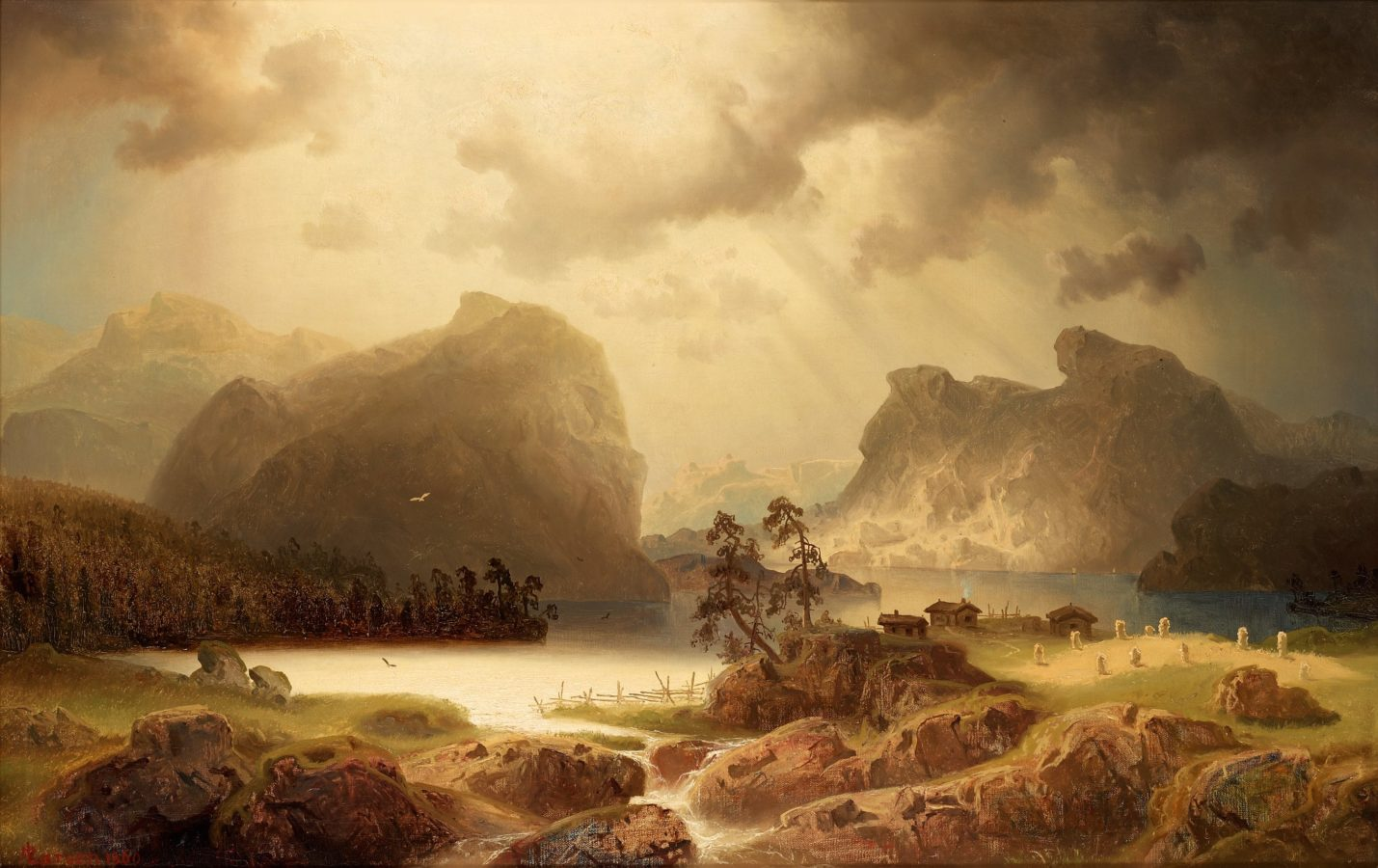 Marcus Larson, Fjord Landscape in Norway, 1860 Location Unknown