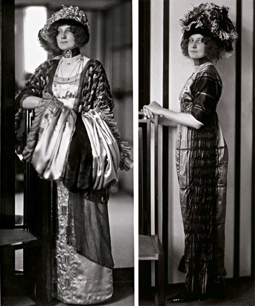 Emilie Flöge wearing costumes designed by herself ad leaning on a chair by Koloman Moser, ca.1910, copyright: IMAGNO, Collection Christian Brandstatter, Vienna, ww viennese design brand