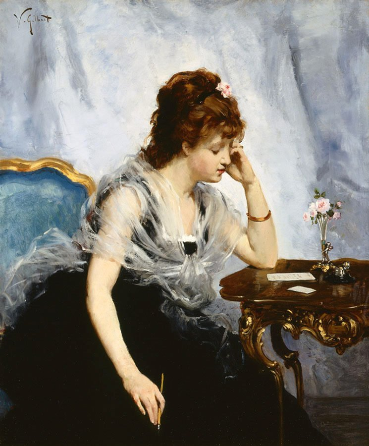 Victor Gabriel Gilbert, A Young Lady Writing a Letter, 1875, Private Collection