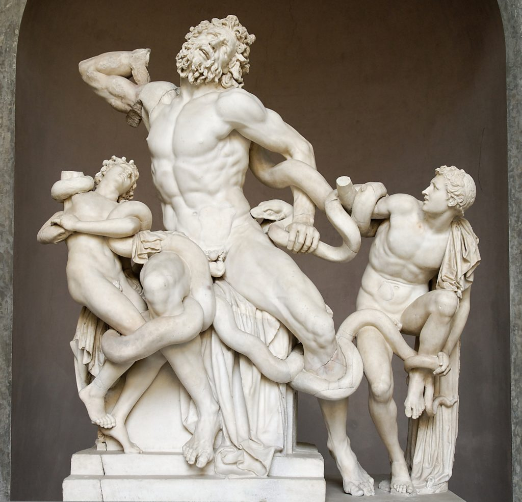 Frederick Schiller and art Laocoön and his sons, also known as the Laocoön Group. Marble, copy after an Hellenistic original from ca. 200 BC. Found in the Baths of Trajan, 1506; Vatican Museums, photo by Marie-Lan Nguyen in public domain