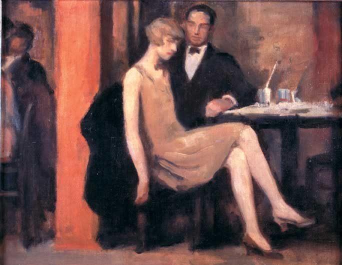 V Kavarne, Hugo Boettinger, 1926, Art Gallery, Praha, Roaring Twenties in Art