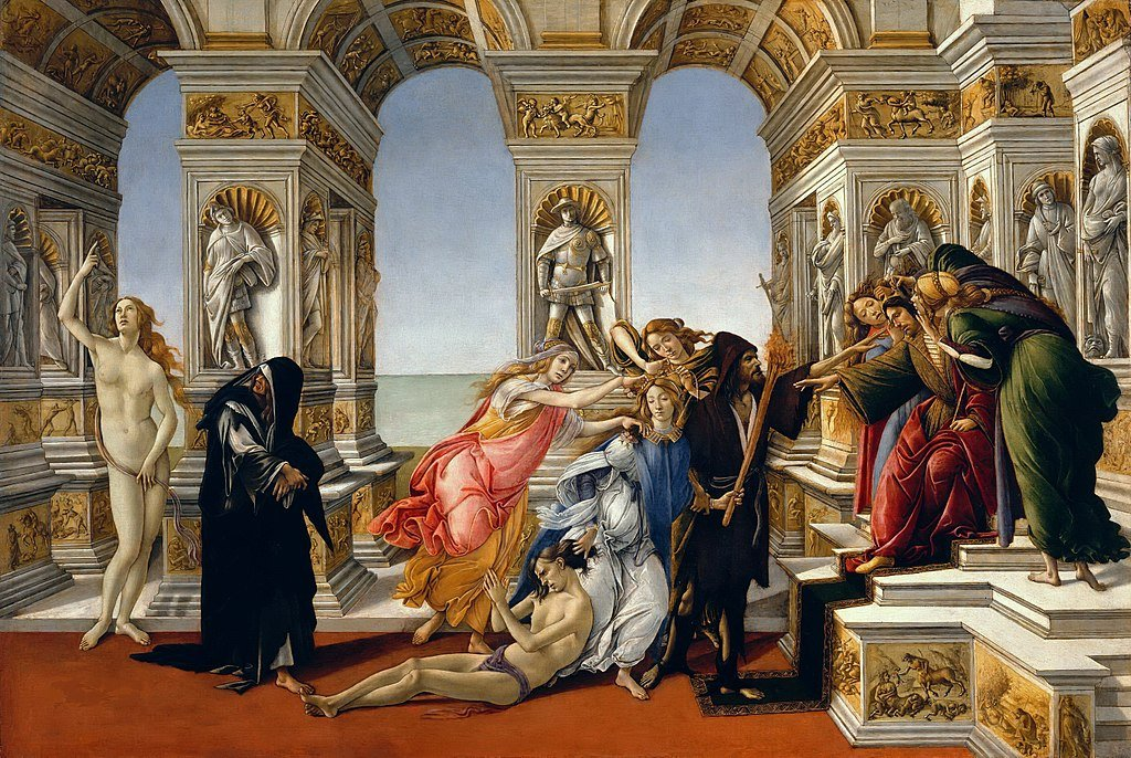 Botticelli, Calumny of Apelles, 1495, Uffizi, Florence, botticelli's final painting
