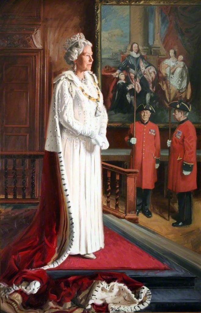 Andrew Festing, Portrait of Elisabeth II, 1999. Royal Society of Portrait Painters; The Public Catalogue Foundation British royal portrait