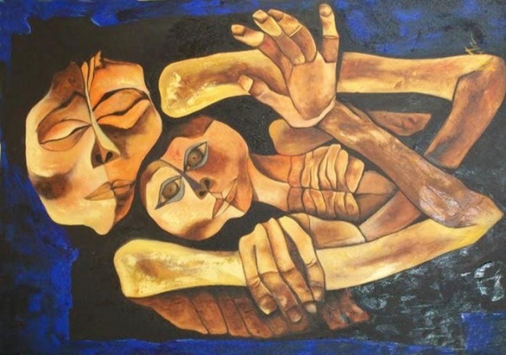 Oswaldo Guayasamín, Madre y niño (Mother and Child), 1989, Fundación Guayasamín
