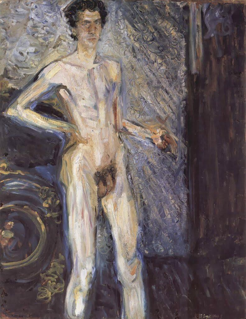 Richard Gerstl, Self Portrait (Nude in a full figure),1908, Richard gerstl's art